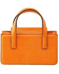 Marge Sherwood Square Mini Snake-print Top Handle Bag - Orange