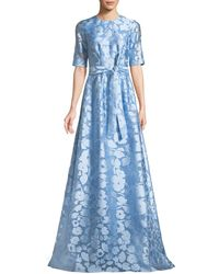 Lela Rose - Holly Elbow-sleeve A-line Floral-jacquard Evening Gown - Lyst
