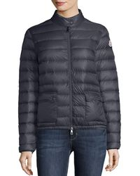 Moncler Lans Collared Down Jacket - Blue