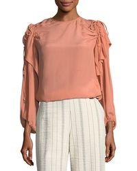 See By Chloé - Blush Draped Long-sleeve Top - Lyst