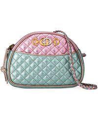 421df87ab69 Gucci - Trapuntata Mini Quilted Metallic Leather Crossbody Bag - Lyst