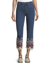 Tory Burch - Mia Embroidered-cuff Cropped Jeans - Lyst