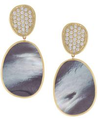 Marco Bicego - Lunaria Large Drop Earrings With Black Mother-of-pearl & Diamonds, 1.06 Tdcw - Lyst