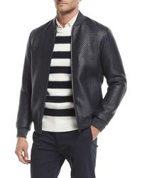 Theory - Sterling Woven-leather Jacket - Lyst