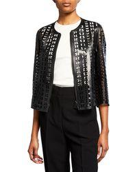 Akris - Audrey Laser Cut Leather Jacket - Lyst