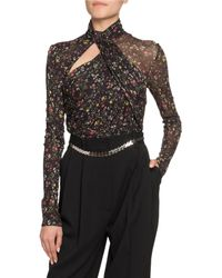 Altuzarra Vox Floral Jersey Turtleneck Bodysuit - Black
