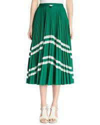 Valentino - Jersey Lycra® Plisse Midi Skirt With Chevron Lace - Lyst