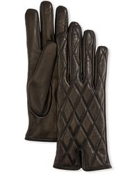 Mario Portolano Cashmere-lined Quilted Leather Gloves - Black
