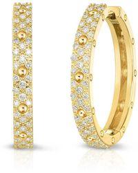 Roberto Coin - Pois Mois 18k Yellow Gold Diamond Hoop Earrings, 20mm - Lyst
