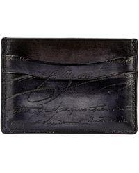 Berluti - Bambou Scritto Leather Card Case Nero - Lyst