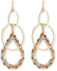 Devon Leigh Double-link Teardrop Earrings W/ Beads, Pastel - Metallic