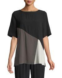Eileen Fisher - Short-sleeve Colorblock Silk Top - Lyst