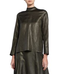 Partow - Everett Shiny-coated Linen Blouse - Lyst