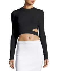 Thierry Mugler - Long-sleeve Cutout Cropped Sweater - Lyst