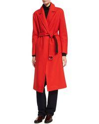 CALVIN KLEIN 205W39NYC - Belted Long Wool Wrap Coat - Lyst