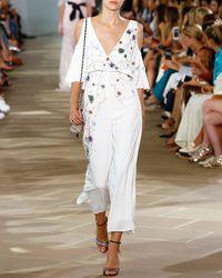 Monique Lhuillier | Embroidered V-neck Cold-shoulder Jumpsuit | Lyst