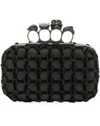 Alexander McQueen Jeweled Velvet Grid Four-ring Box Clutch Bag - Black