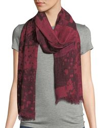 Eileen Fisher Airy Wool/linen Jacquard Scarf - Red