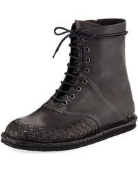 Bottega Veneta - San Crispino Intrecciato Lace-up Boot - Lyst