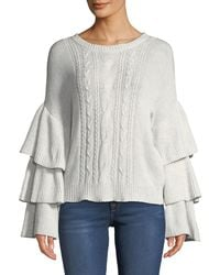 Cupcakes And Cashmere - Kristin Cable-knit Bell-sleeve Sweater - Lyst