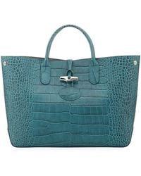 Longchamp   Roseau Medium Croc-embossed Leather Tote Bag   Lyst