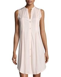 Hanro - Button-front Sleeveless Nightgown - Lyst