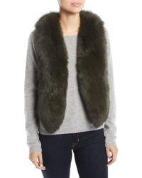 Adrienne Landau Short Fur Vest W/ Cutout Back - Green