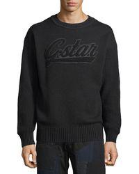 G-Star RAW - Men's Logo Applique Crewneck Sweater - Lyst