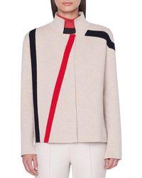 Akris Cashmere Asymmetric Line-intarsia Sweater - Multicolor