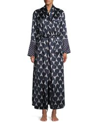 Olivia Von Halle - Capability Rocky Print Long Silk Robe - Lyst