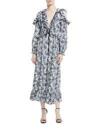 Robert Rodriguez - Orchid-print V-neck Silk Ruffled Maxi Dress - Lyst