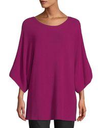 Eileen Fisher - Bateau-neck 3/4-sleeve Ribbed Merino Wool Sweater - Lyst