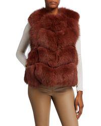 Adrienne Landau Let Out Fox Fur Vest - Brown