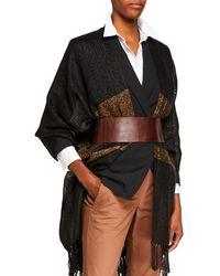 Brunello Cucinelli Wide Leather Belt With Diamante Buckle Detail - Brown