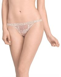 Natori Feathers Lace Thong - Natural