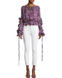 Robert Rodriguez - Orchid-print Ruffle Long-sleeve Silk Blouse - Lyst