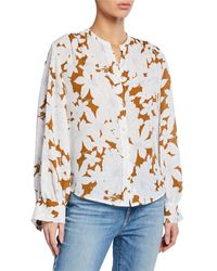 Vince Tropical Blooms Button-front Shirred-back Long-sleeve Blouse - Multicolor