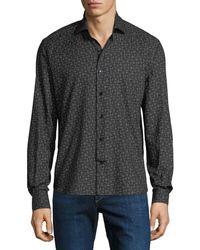 Culturata Men's Line-print Sport Shirt - Black