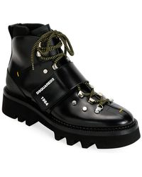 DSquared² Men's Leather Lace-up Hiking Boots With Grip Strap - Black
