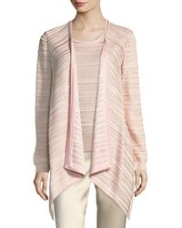 St. John - Welted Sequined Drape Cardigan - Lyst