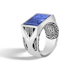 John Hardy Men's Classic Chain Silver Signet Ring With Sodalite - Blue