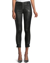 RTA - Zelda Skinny-leg Lambskin Leather Ankle Pants - Lyst