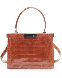 Alaïa Cecile Small Croc-embossed Top-handle Bag - Brown