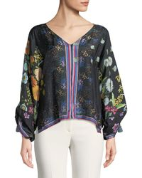 Johnny Was - Forest Silk Georgette Long-sleeve Blouse - Lyst