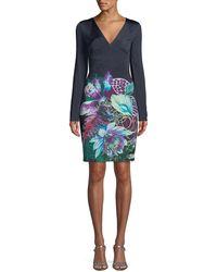 Roberto Cavalli - V-neck Long-sleeve Exotic Floral-print Jersey Dress - cf41380a2