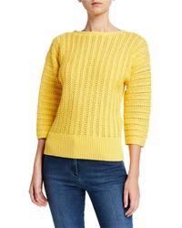 St. John - Slip Knit Bateau-neck 3/4 Sleeve Sweater - Lyst