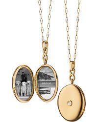 Monica Rich Kosann | 18k Gold Locket Necklace With Diamond Center | Lyst