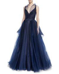 Zac Posen - Pleated Tulle Sleeveless Gown W/ Full Skirt - Lyst