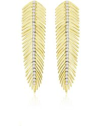 Sutra 18k Yellow Gold Diamond Feather Earrings - Multicolour