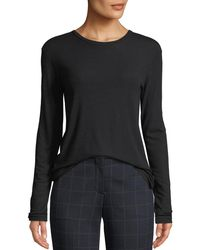 Theory - Pleated-back Crewneck Long-sleeve Ribbed Top - Lyst